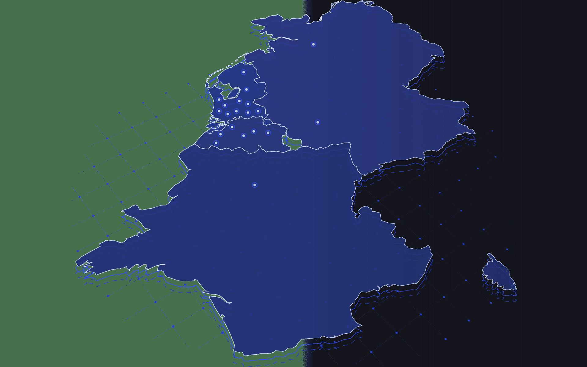 Vestigingen van Direct Result in Nederland, België, Duitsland en Frankrijk op een kaart weergegeven